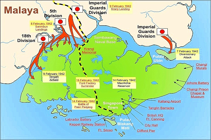Singapore ww2 british tropical debacle this map is a visual guide to the major battles on the island of singapore it shows places and dates referenced in the text click this link for a larger publicscrutiny Choice Image