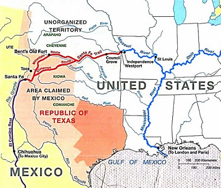 a map of the santa fe trail